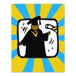 Oro y Lt de recepción graduados Blue del diploma Invitación 10,8 X 13,9 Cm