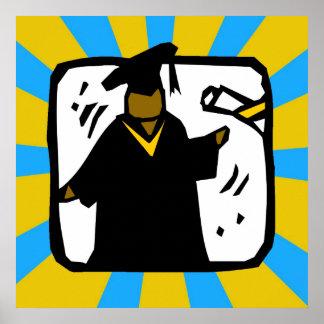 Oro y Lt de recepción graduados Blue del diploma Póster
