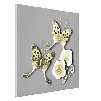 Oro y mariposas y rosas elegantes de la plata impresión en lienzo estirada