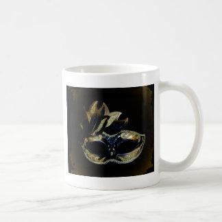Oro y máscara negra taza de café