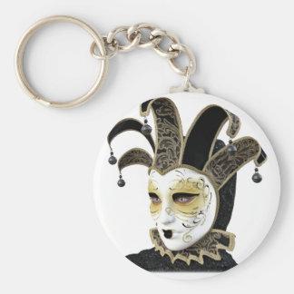 Oro y máscara veneciana de Carnivale del negro en Llavero Redondo Tipo Pin