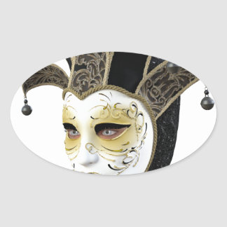 Oro y máscara veneciana de Carnivale del negro en Pegatina Ovalada