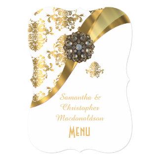 """Oro y menú blanco del boda del damasco invitación 5"""" x 7"""""""