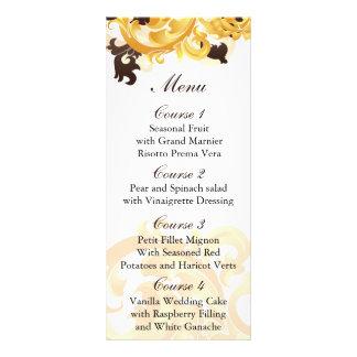 oro y menú marrón del boda