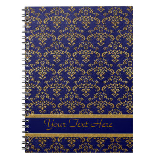 Oro y modelo azul del damasco spiral notebooks