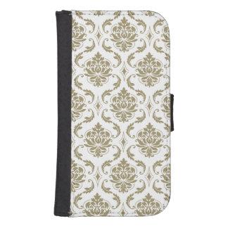 Oro y modelo blanco del damasco del vintage carteras para teléfono