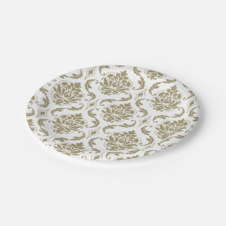 Oro y modelo blanco del damasco del vintage plato de papel de 7 pulgadas