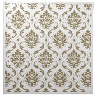 Oro y modelo blanco del damasco del vintage servilleta