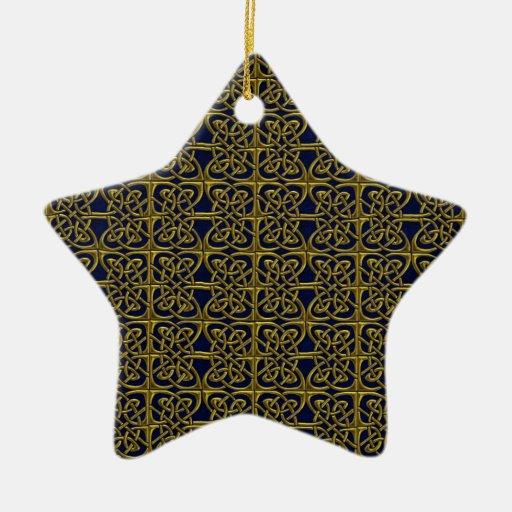 Oro y modelo conectado azul del Celtic de los Ornamento De Reyes Magos