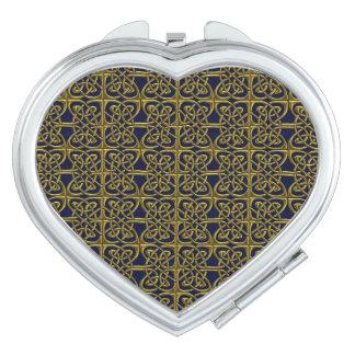 Oro y modelo conectado azul del Celtic de los Espejo De Maquillaje