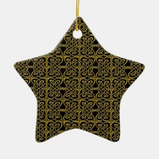 Oro y modelo conectado negro del Celtic de los Ornamente De Reyes