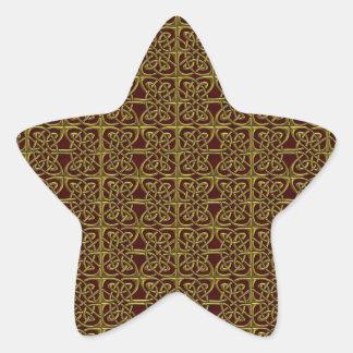 Oro y modelo conectado rojo del Celtic de los Calcomanías Forma De Estrella