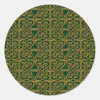 Oro y modelo conectado verde del Celtic de los Pegatina Redonda