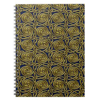 Oro y modelo de nudos espiral céltico azul libros de apuntes
