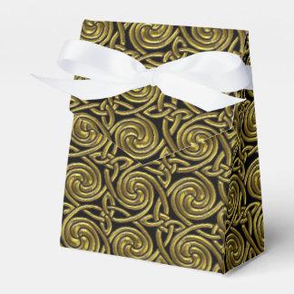 Oro y modelo de nudos espiral céltico del negro cajas para detalles de boda
