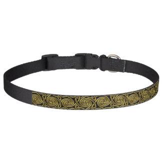 Oro y modelo de nudos espiral céltico del negro collares para perros