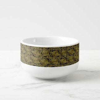 Oro y modelo de nudos espiral céltico del negro cuenco para sopa