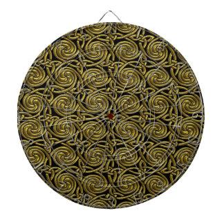 Oro y modelo de nudos espiral céltico del negro tablero de dardos