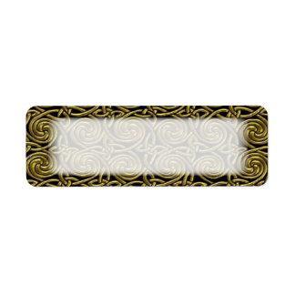 Oro y modelo de nudos espiral céltico del negro etiquetas de remite
