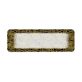 Oro y modelo de nudos espiral céltico del negro etiqueta de remitente