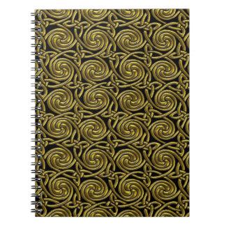 Oro y modelo de nudos espiral céltico del negro cuadernos