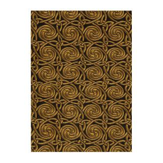 Oro y modelo de nudos espiral céltico del negro impresión en corcho