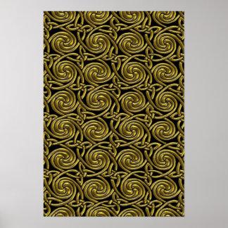 Oro y modelo de nudos espiral céltico del negro póster