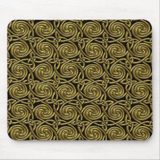 Oro y modelo de nudos espiral céltico del negro tapetes de ratón