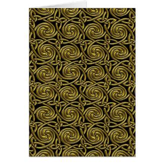 Oro y modelo de nudos espiral céltico del negro tarjeta de felicitación