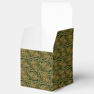 Oro y modelo de nudos espiral céltico del verde cajas para regalos de boda