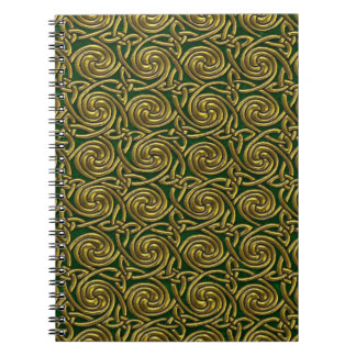 Oro y modelo de nudos espiral céltico del verde libreta espiral