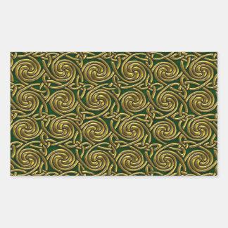 Oro y modelo de nudos espiral céltico del verde pegatina rectangular