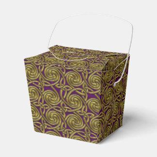 Oro y modelo de nudos espiral céltico púrpura caja para regalos
