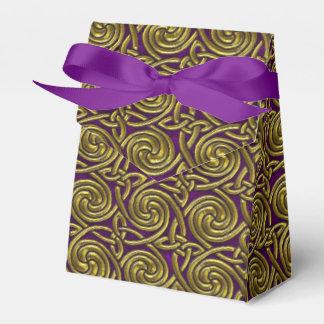 Oro y modelo de nudos espiral céltico púrpura cajas para regalos