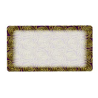 Oro y modelo de nudos espiral céltico púrpura etiqueta de envío