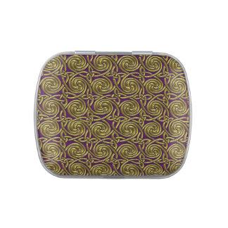 Oro y modelo de nudos espiral céltico púrpura jarrones de caramelos