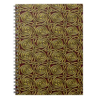 Oro y modelo de nudos espiral céltico rojo libro de apuntes con espiral