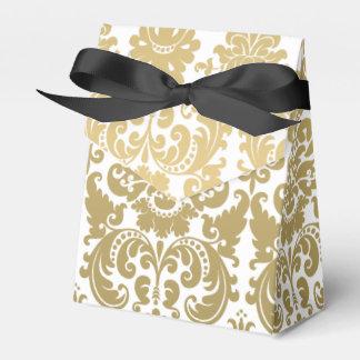 Oro y modelo elegante blanco del damasco cajas para detalles de boda