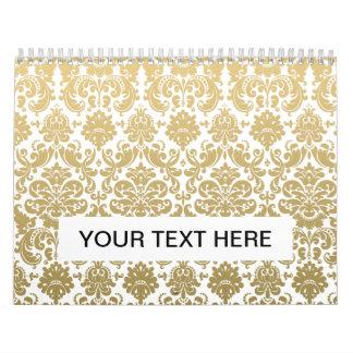 Oro y modelo elegante blanco del damasco calendarios de pared