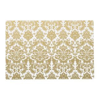 Oro y modelo elegante blanco del damasco salvamanteles