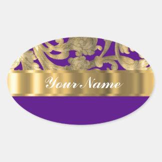 Oro y modelo floral púrpura del damasco colcomanias oval