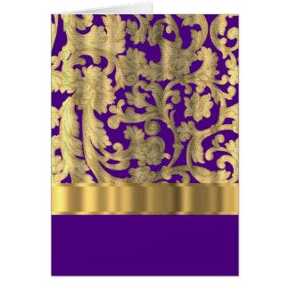 Oro y modelo floral púrpura del damasco tarjeton