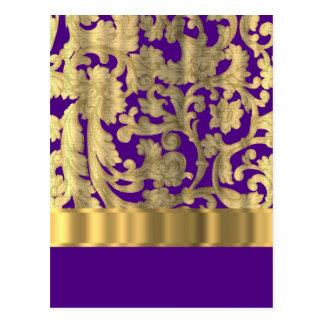 Oro y modelo floral púrpura del damasco postal