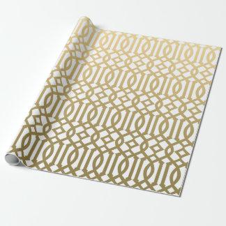 Oro y modelo moderno blanco del enrejado papel de regalo