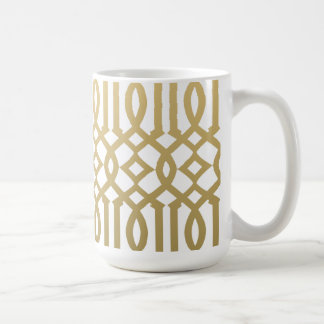 Oro y modelo moderno blanco del enrejado taza clásica