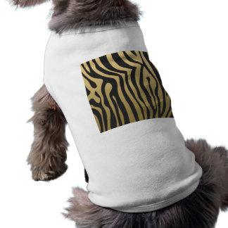 Oro y modelo negro de las rayas de la cebra camiseta sin mangas para perro