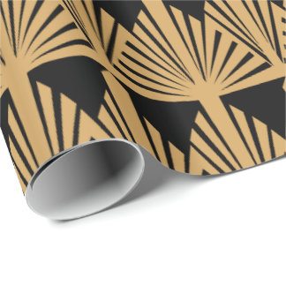 Oro y modelo negro del art déco papel de regalo