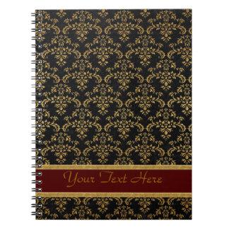 Oro y modelo negro del damasco libro de apuntes con espiral