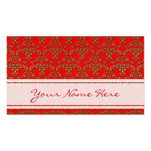 Oro y modelo rojo del damasco tarjeta de visita