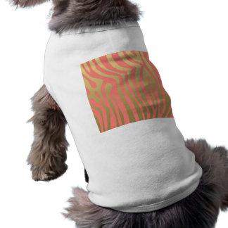 Oro y modelo rosado coralino de las rayas de la camiseta sin mangas para perro